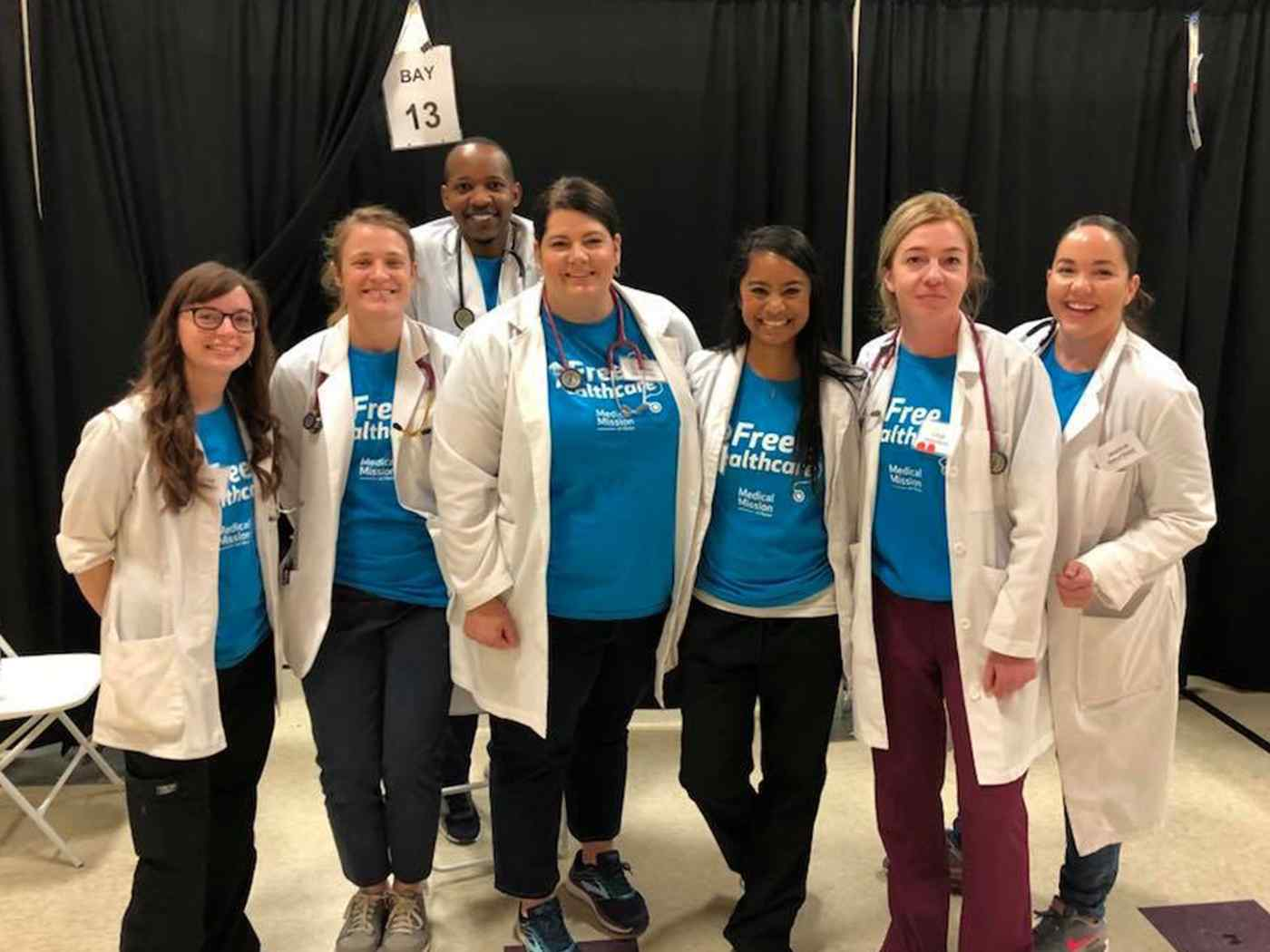 Students in the School of Nursing get hands-on experience providing a day of free health care to patients with little or no health insurance.