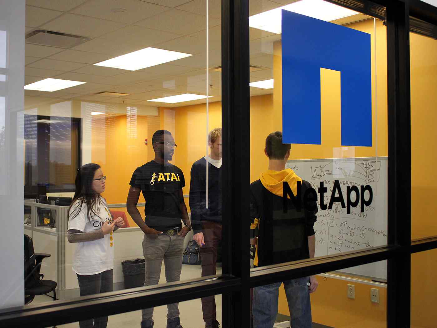 Engineering interns at working at NetApp.