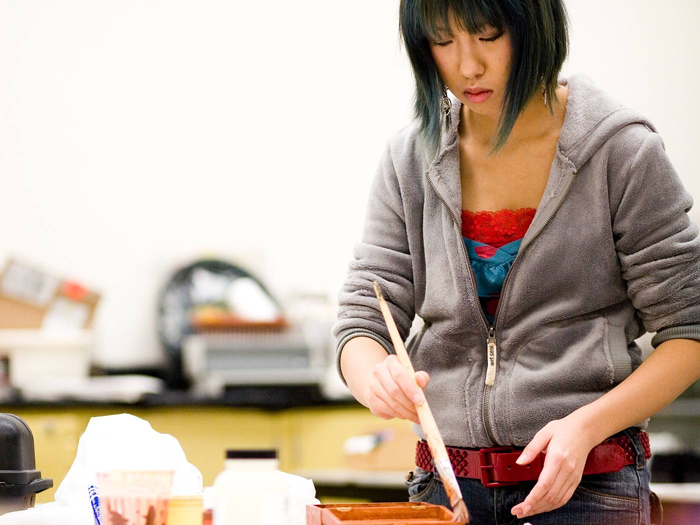 Female student in the studio.