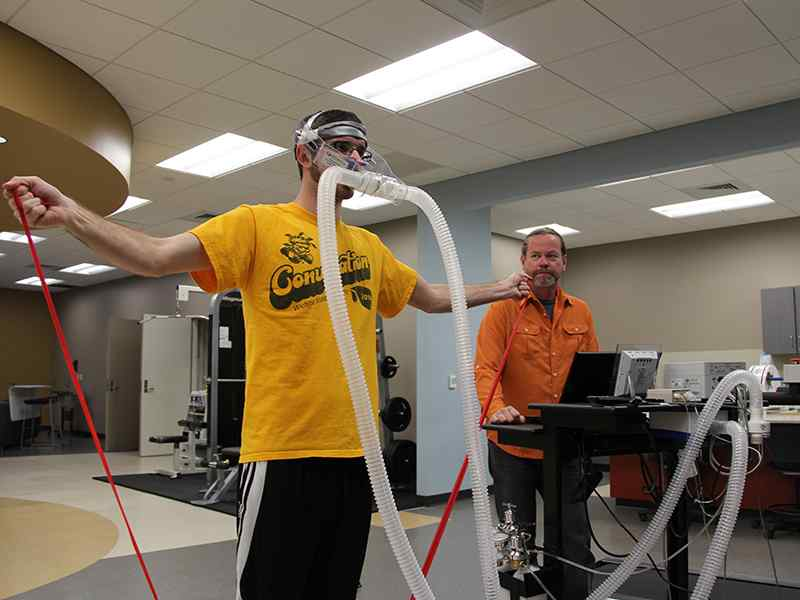 Exercise Science students performing a test in the Human Performance lab.