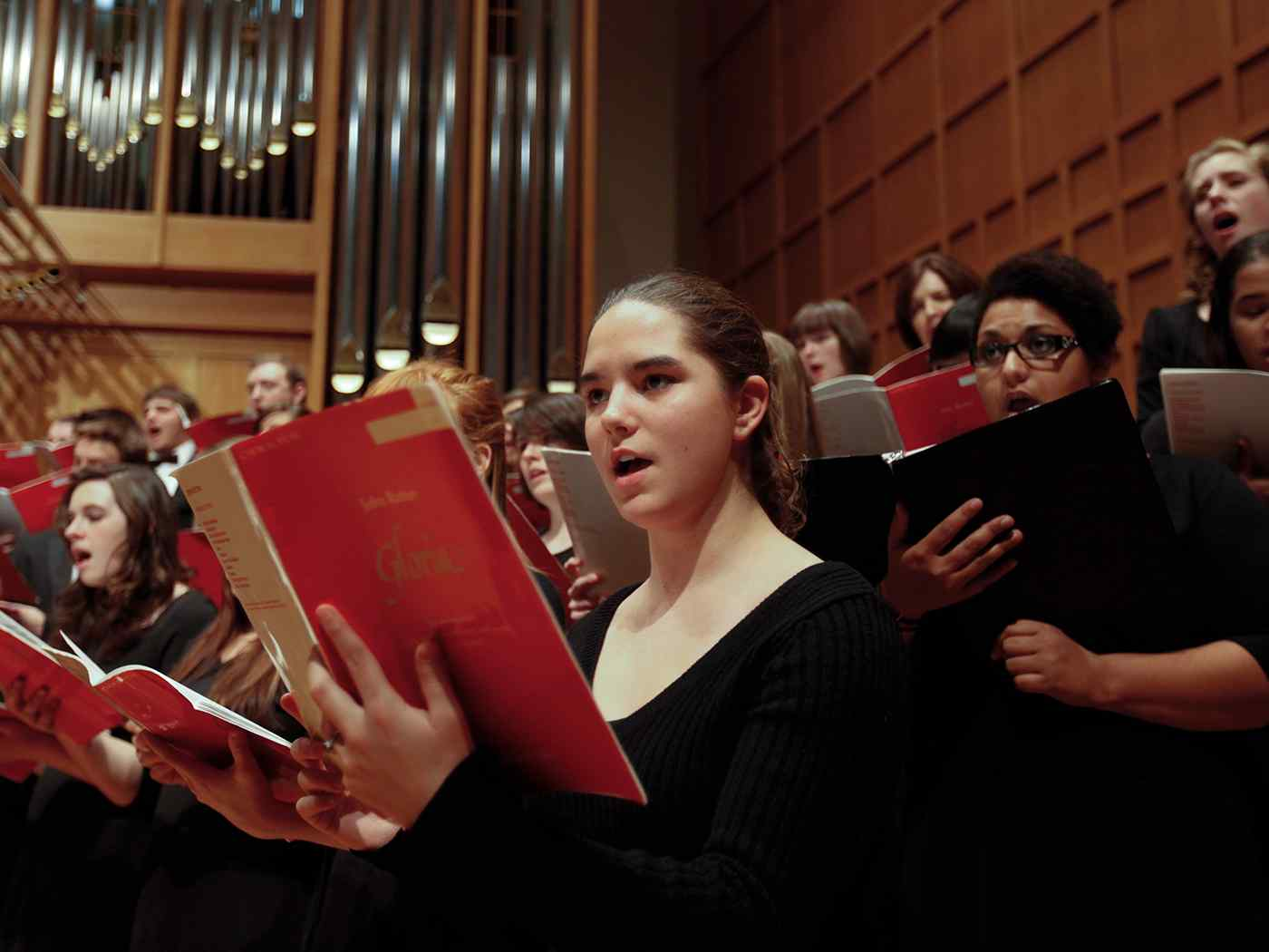 Vocal ensemble performs in Wiedemann Hall