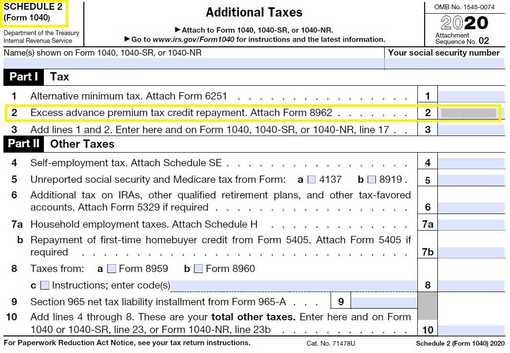 Picture of IRS Schedule 2 Form