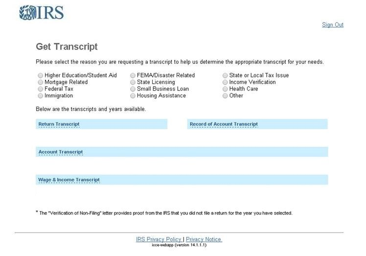 Picture of IRS website for types of transcripts