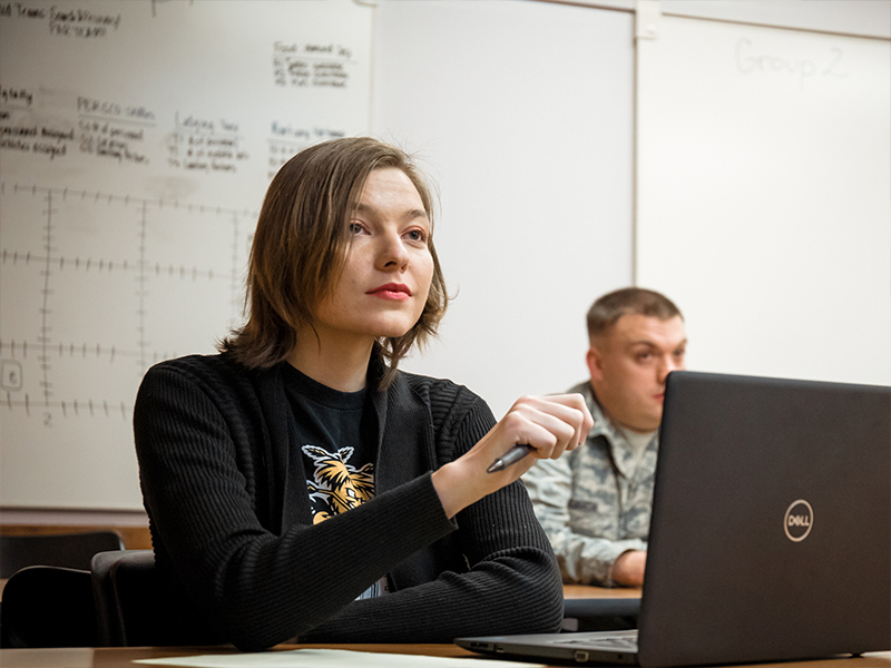 Wichita State military students in class.