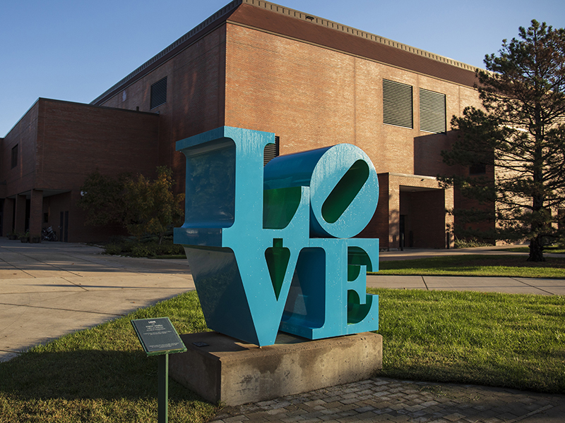 Photo of Robert Indiana's LOVE sculpture, located near the Heskett Center