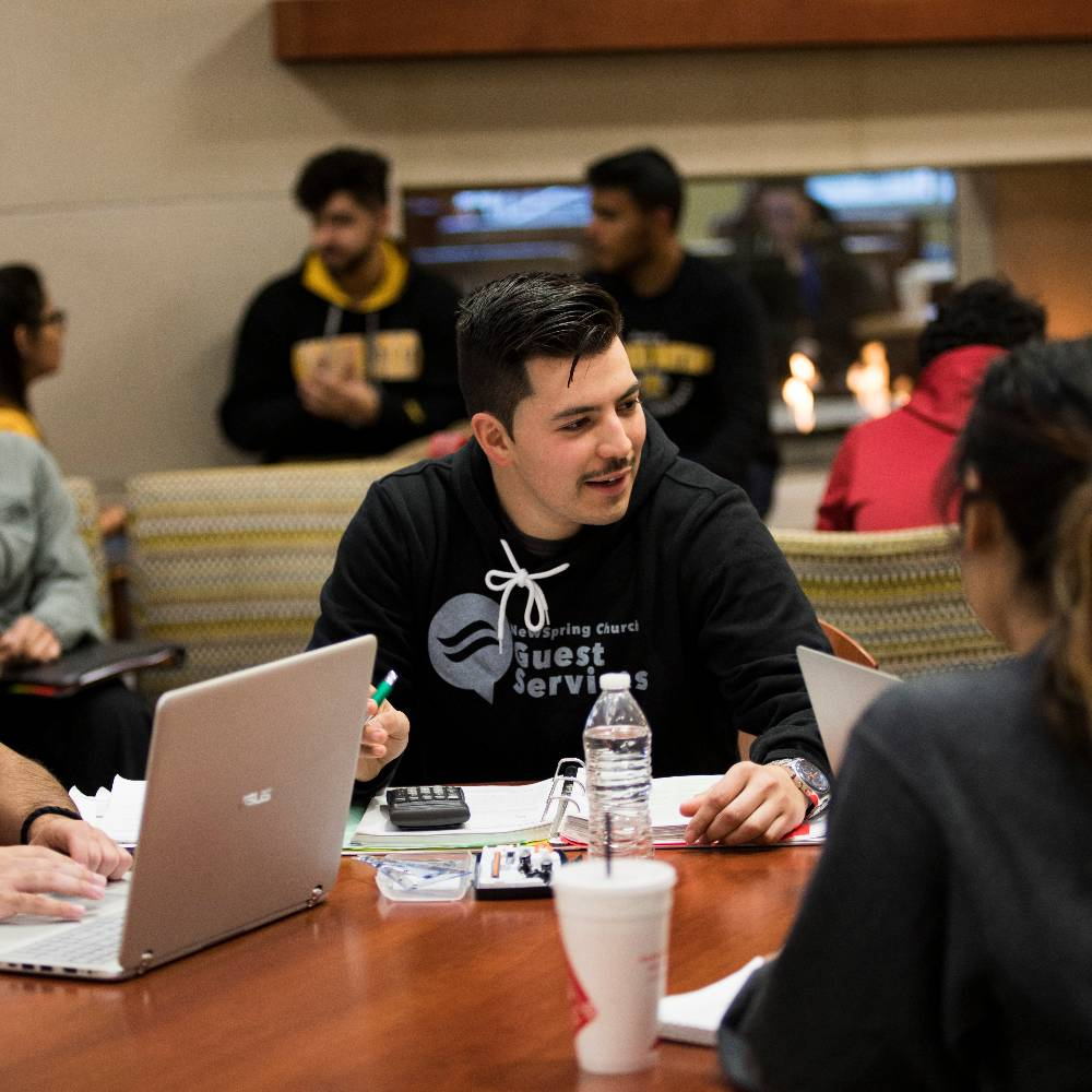 Group of students studying in the RSC.