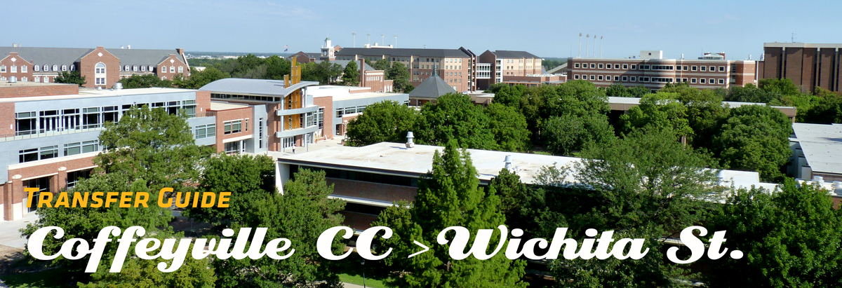 Image of WSU Campus with Banner of text stating Transfer Guide from Coffeyville CC to Wichita State