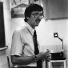 Dr. Bardo teaching sociology course at Wichita State in the 1970s.