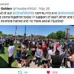 Protestors near Wichita State's campus.