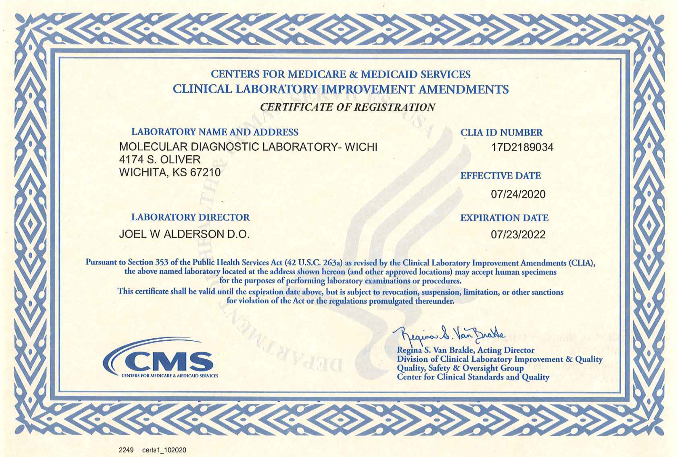 clia certification certificate lab wichita diagnostics certifications molecular laboratory cms