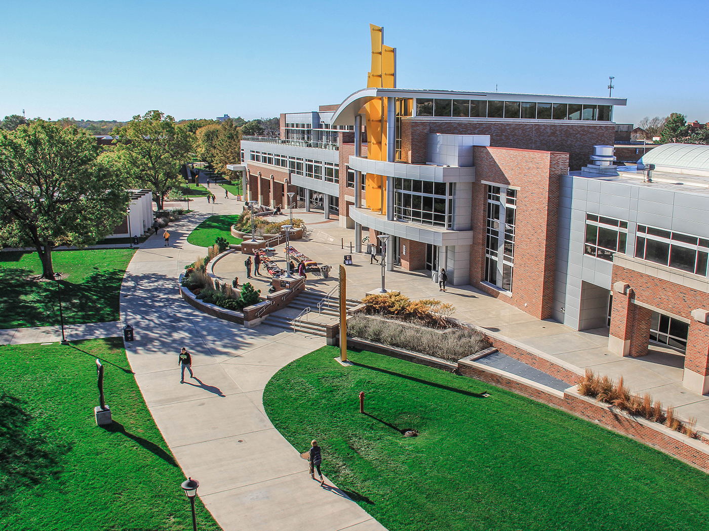 An aerial shot of the east side of the Rhatigan Student Center.