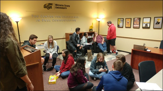 WSU students receiving guidance from the dedicated staff of the Center for Excellence in Oral Communication