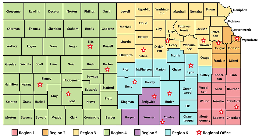 Map of Kansas Kids @ GEAR UP statewide regions by county
