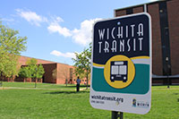 Wichita public transit sign on campus