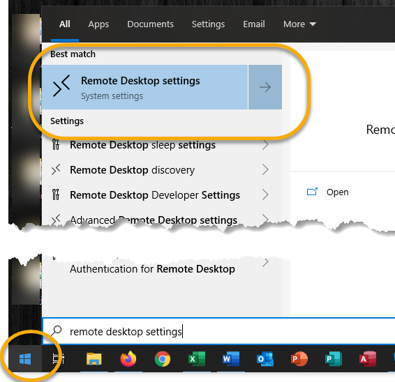 WIndows icon selected, remote desktop settings selected