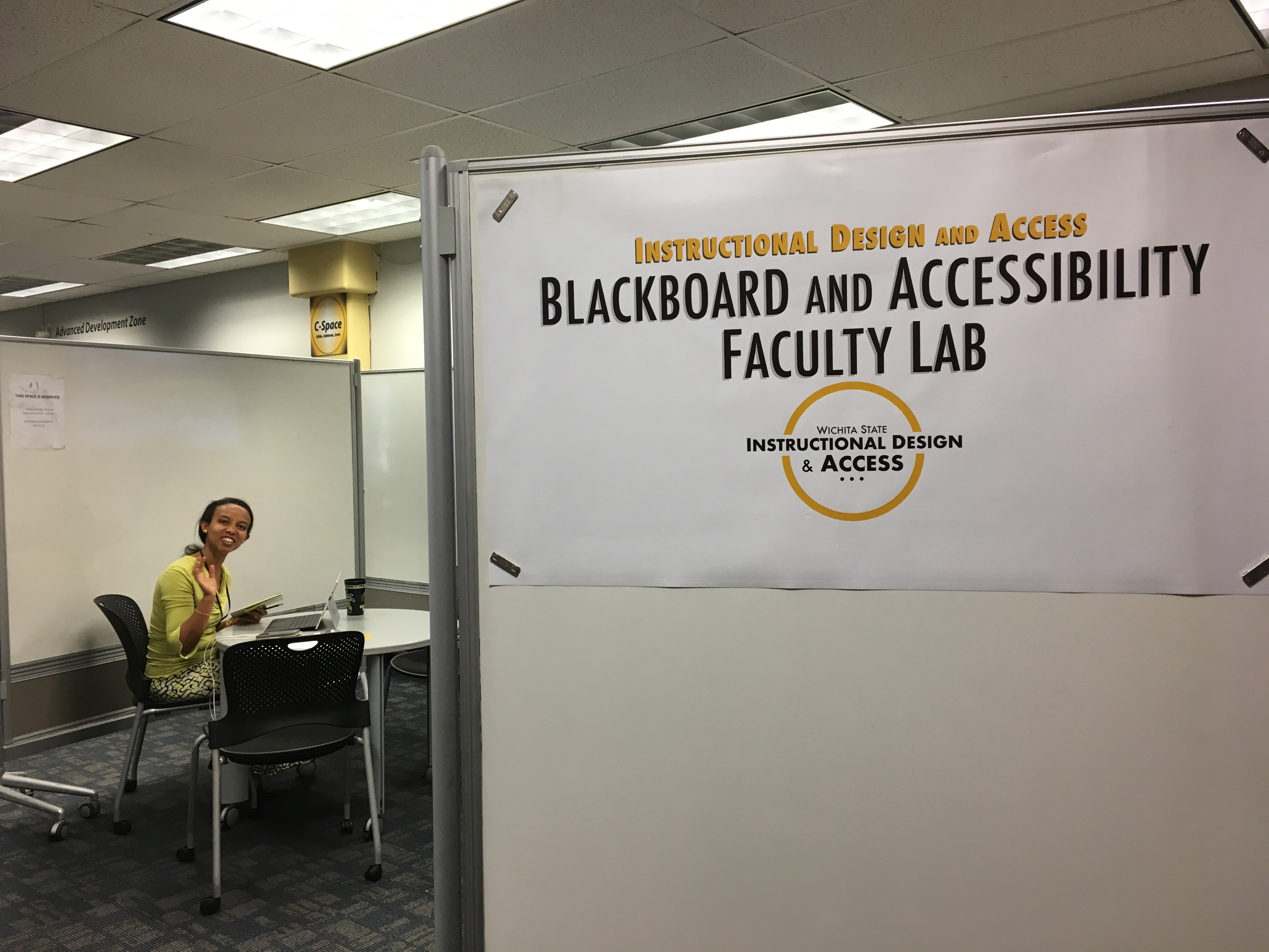 "Dr. Freh Wuhib says ""hello!"" in our IDA Lab area"