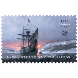 image of Mayflower in Plymouth harbor postage stamp