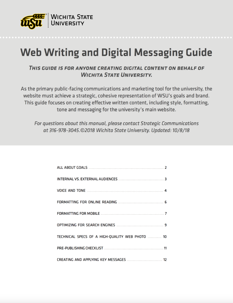 WSU's web writing and digital messaging guide