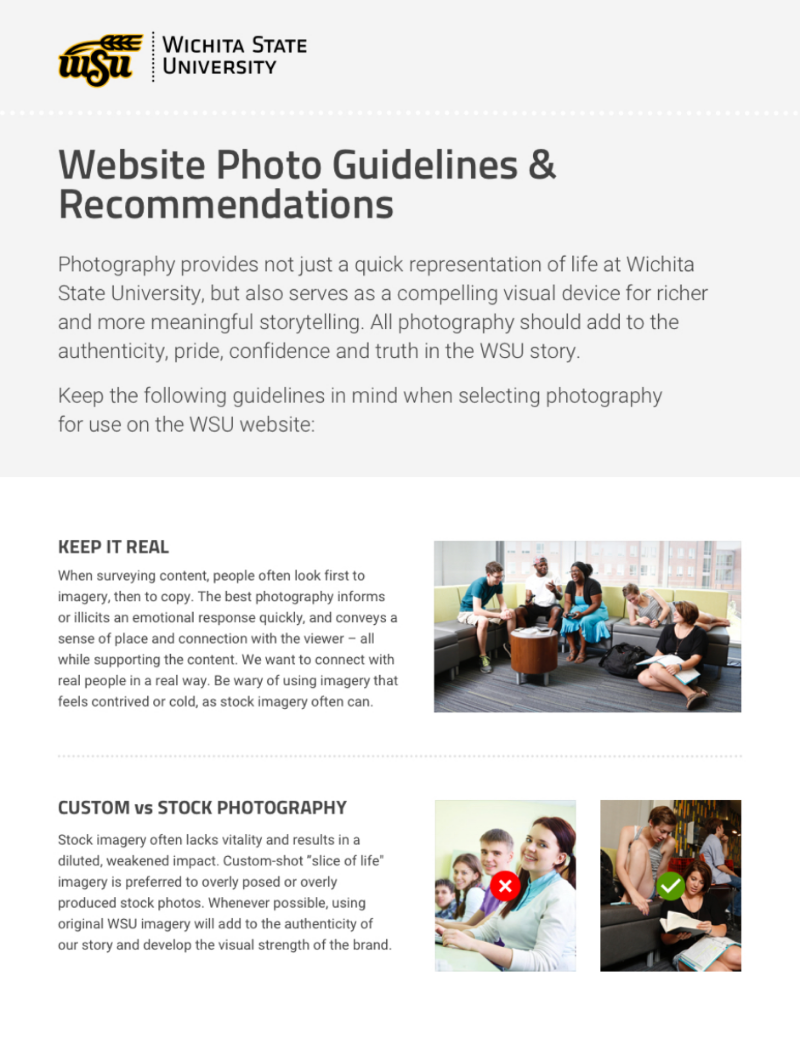 WSU's website photo guidelines