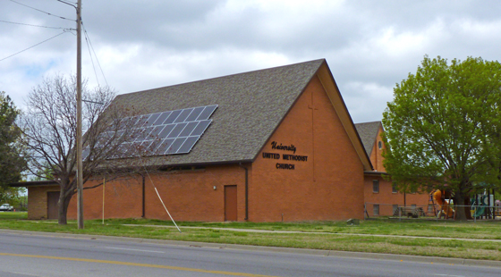 Photo of the 10-kW solar panel in use on the University Methodist Church.
