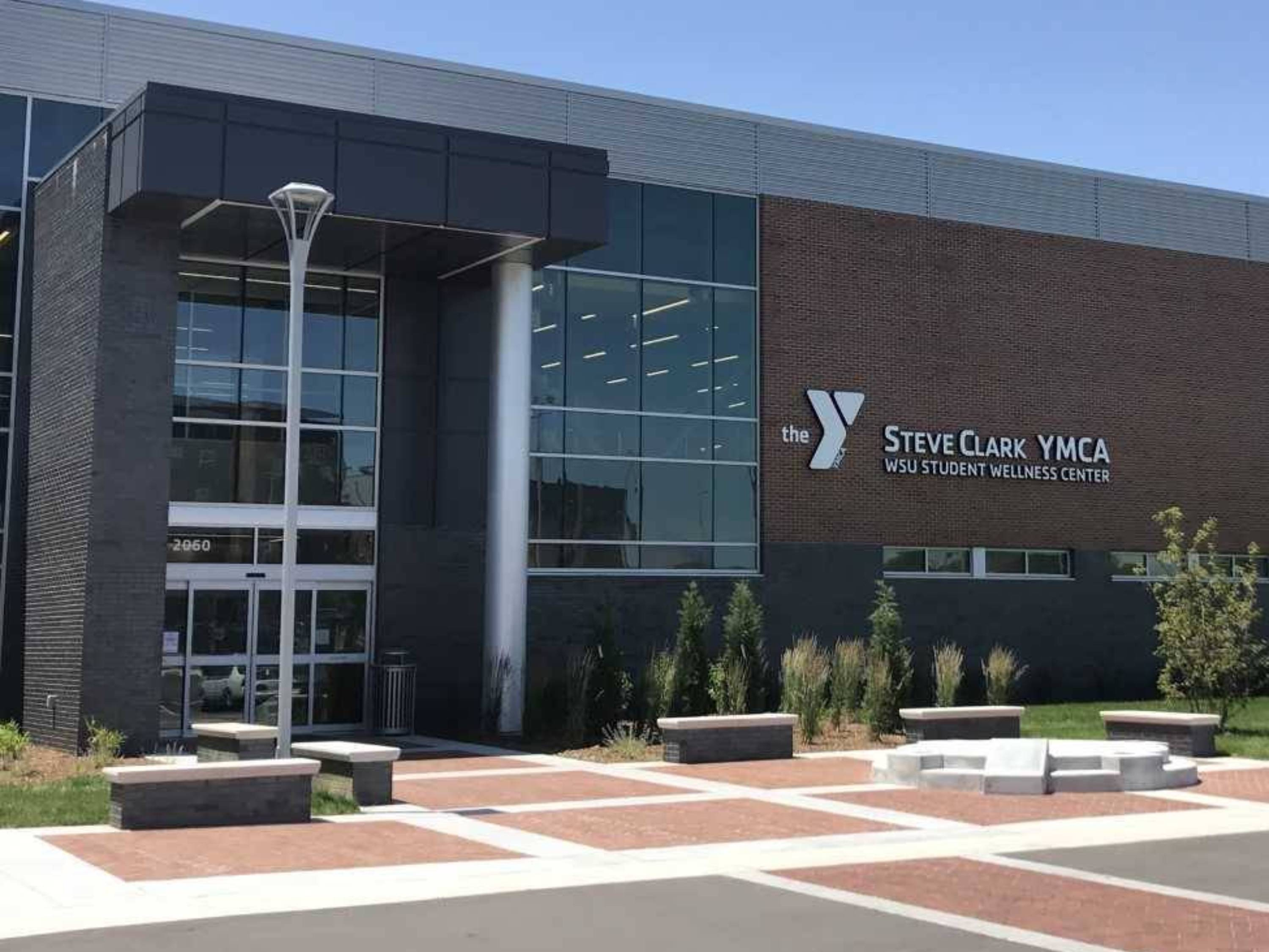 Front entrance of the Steve Clark YMCA and Student Wellness Center