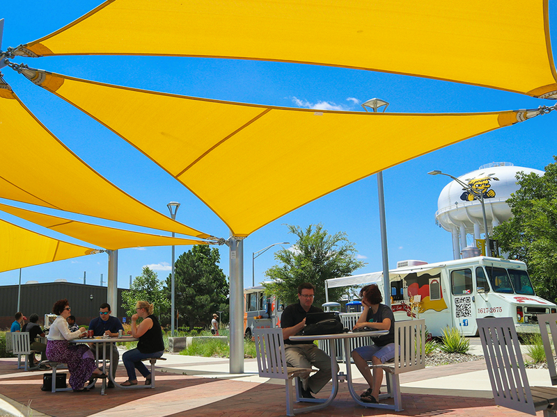 A bustling Food Truck Plaza on WSU's main campus.