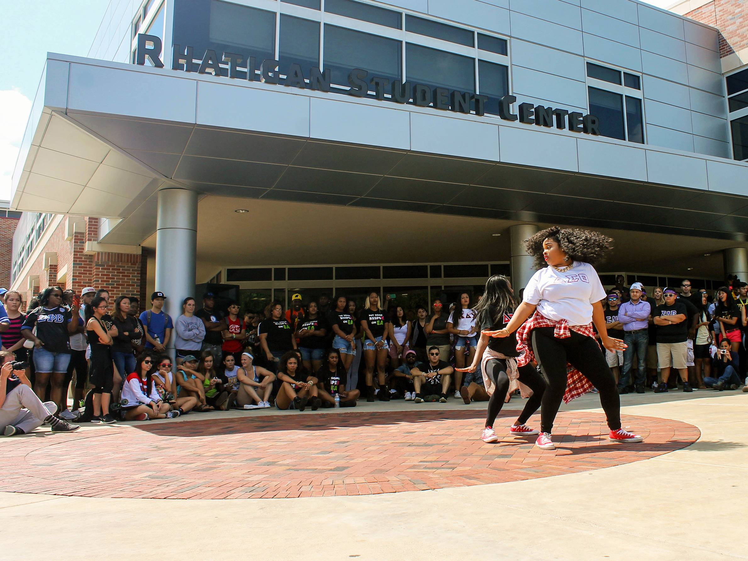 Sorority students dancing in front of the RSC.