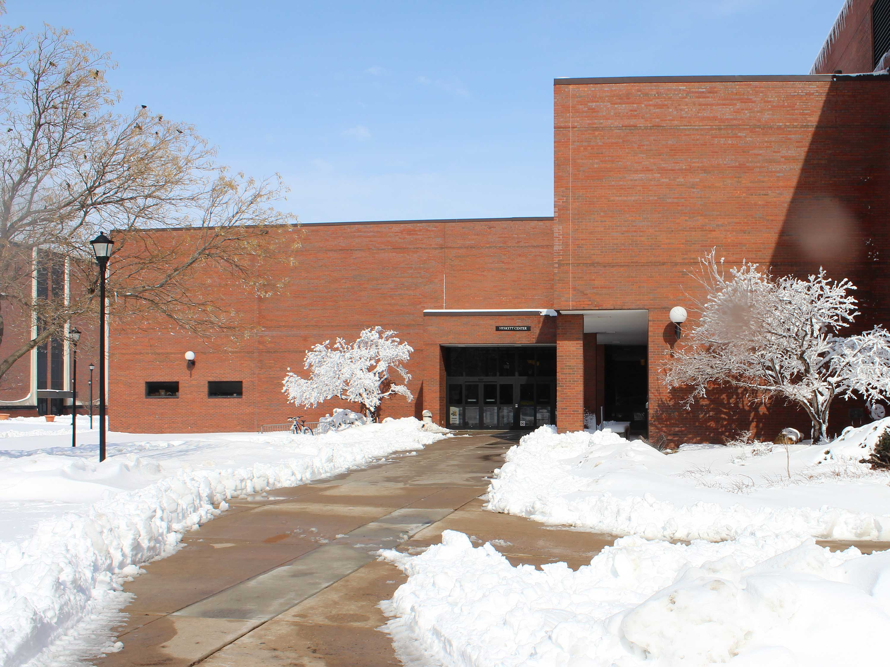 Heskett exterior during winter snow.
