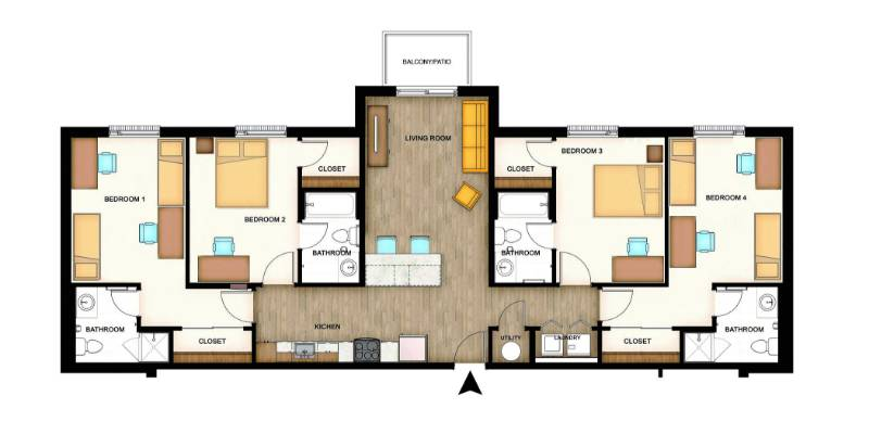 Flats floorplans - One bedroom apartments wichita ks ...